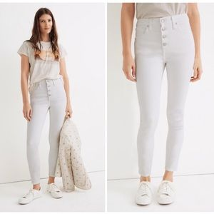 """Madewell White 10"""" High Rise Skinny Crop Jeans"""